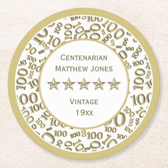90th Birthday Party White /Gold  Round Centenarian Round Paper Coaster