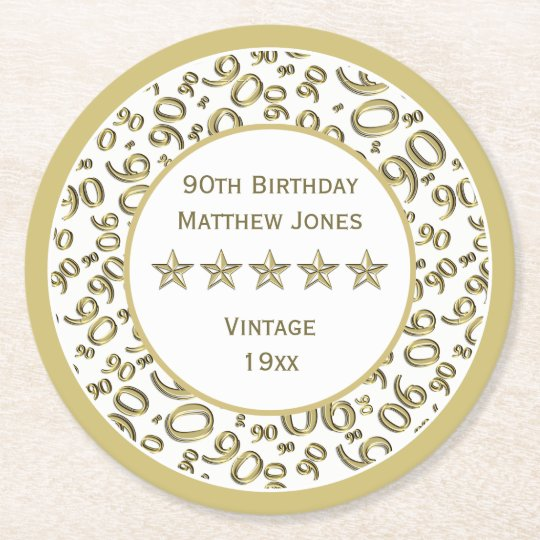 90th Birthday Party White /Gold Round Pattern Round Paper Coaster
