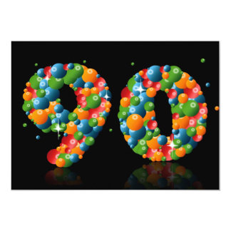 90th Birthday party, with bubbles and balls Custom Invite
