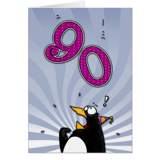 90th Birthday - Penguin Surprise Card
