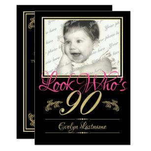 90th Birthday Photo Invitation