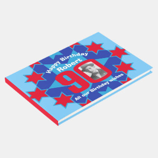 90th birthday photo star red blue guest book