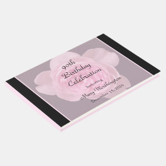 90th Birthday Pink Rose Guest Book