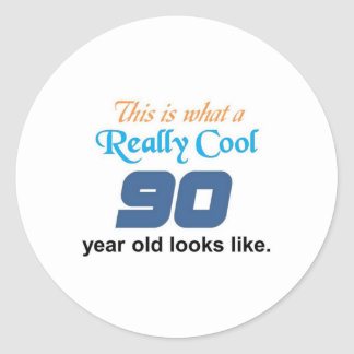 90th Birthday Round Sticker