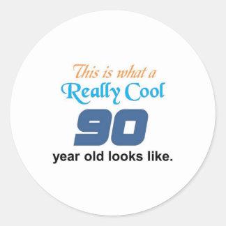 90th Birthday Round Sticker