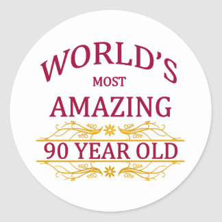 90th. Birthday Round Sticker