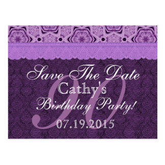 90th Birthday Save the Date Purple Antique Lace Postcard