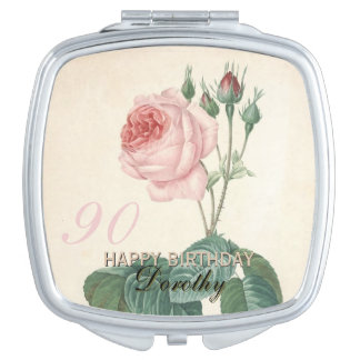 90th Birthday Vintage Rose Personalized Vanity Mirror