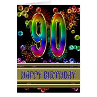 90th Birthday with rainbow bubbles and fireworks Greeting Card