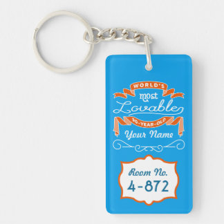 90th Birthday World's Most Lovable 90-Year-Old Double-Sided Rectangular Acrylic Key Ring