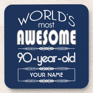 90th Birthday Worlds Best Fabulous Dark Blue Beverage Coasters