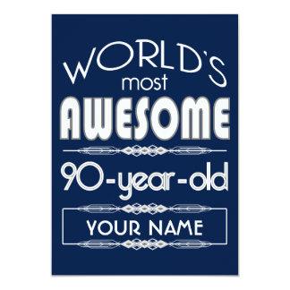 "90th Birthday Worlds Best Fabulous Dark Blue 5"" X 7"" Invitation Card"
