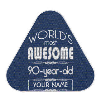 90th Birthday Worlds Best Fabulous Dark Blue Bluetooth Speaker