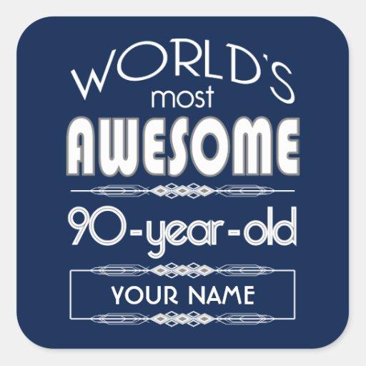 90th Birthday Worlds Best Fabulous Dark Blue Sticker