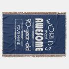 90th Birthday Worlds Best Fabulous Dark Blue Throw Blanket