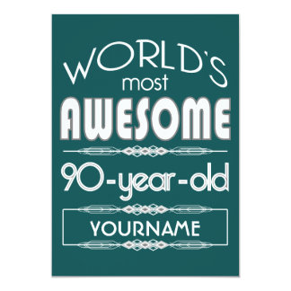 90th Birthday Worlds Best Fabulous Dark Green Fore 13 Cm X 18 Cm Invitation Card