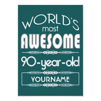 90th Birthday Worlds Best Fabulous Dark Green Fore 5x7 Paper Invitation Card