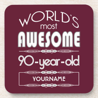 90th Birthday Worlds Best Fabulous Dark Red Coasters