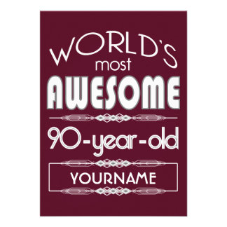 90th Birthday Worlds Best Fabulous Dark Red Invite