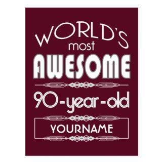 90th Birthday Worlds Best Fabulous Dark Red Postcard