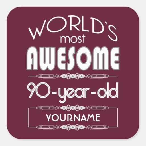 90th Birthday Worlds Best Fabulous Dark Red Sticker