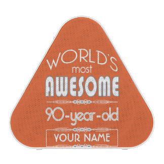 90th Birthday Worlds Best Fabulous Flame Orange Bluetooth Speaker