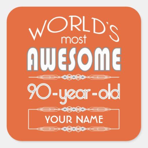 90th Birthday Worlds Best Fabulous Flame Orange Sticker