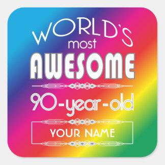 90th Birthday Worlds Best Fabulous Rainbow Square Sticker