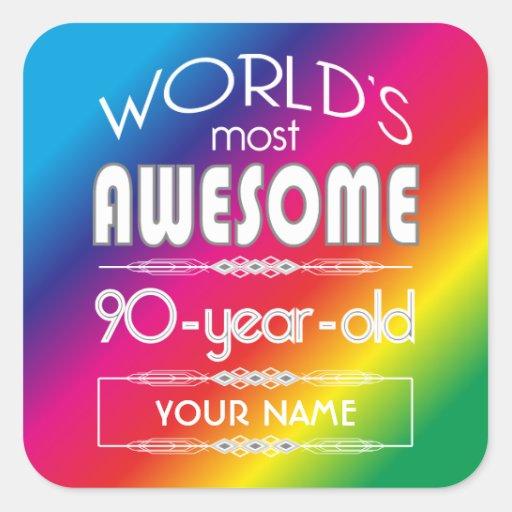 90th Birthday Worlds Best Fabulous Rainbow Square Stickers