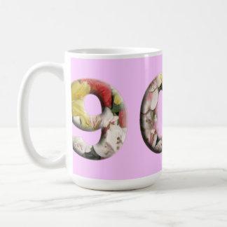 90th Milestone Mug Customizable Floral Design