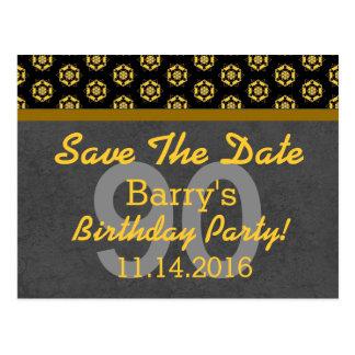 90th Save the Date Dark Gray Gold 05E SHIP WHEELS Postcard