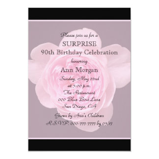 90th Surprise Birthday Party Invitation Rose