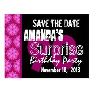 90th Surprise Birthday Party Pink Pattern Template Postcard