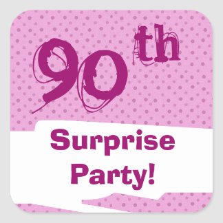 90th Surprise Birthday Party Pink Pattern Template Sticker