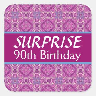 90th SURPRISE Birthday Pink Purple Pattern Square Sticker