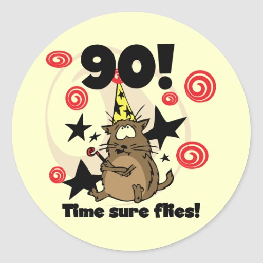 90th Time Flies Birthday Round Stickers