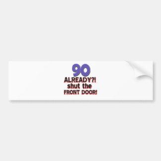 90th year birthday designs bumper sticker