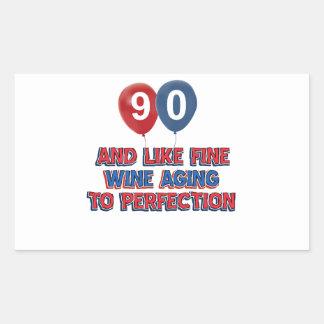 90th year birthday designs rectangular sticker