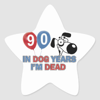 90th year birthday designs star sticker