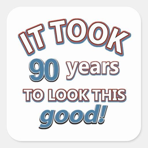 90th year birthday designs stickers