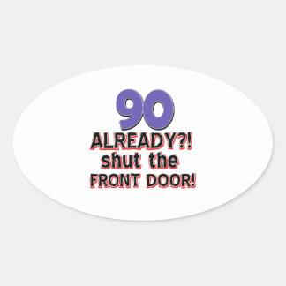 90th year birthday designs oval sticker