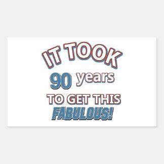 90th year birthday designs rectangle sticker