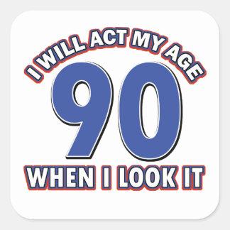 90th year birthday designs square sticker