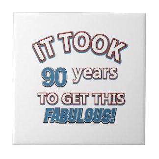 90th year birthday designs tiles