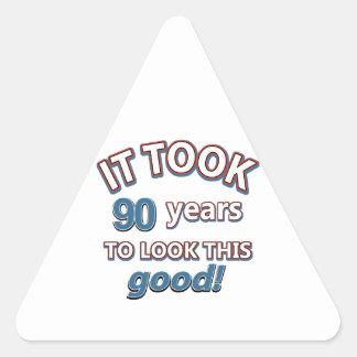 90th year birthday designs triangle sticker