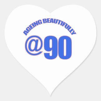 90th year old designs heart sticker