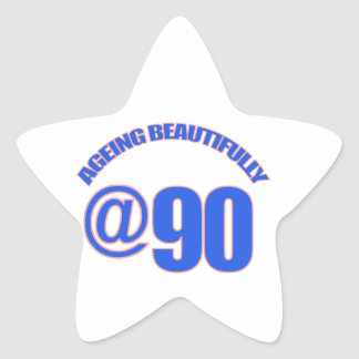 90th year old designs star sticker