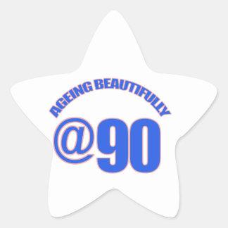 90th year old designs star sticker