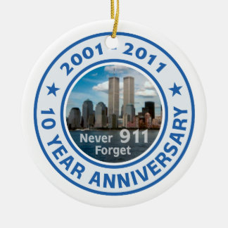 911 10 Year Anniversary Ceramic Ornament