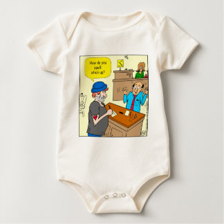 916 stick up at the bank cartoon baby bodysuit